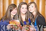 Enjoying the Killarney Stage School musical 'Encore' in the Malton Hotel, Killarney on Thursday night was l-r: Sarah Courtney, Aoife O'Brien and Eva Moynihan Killarney
