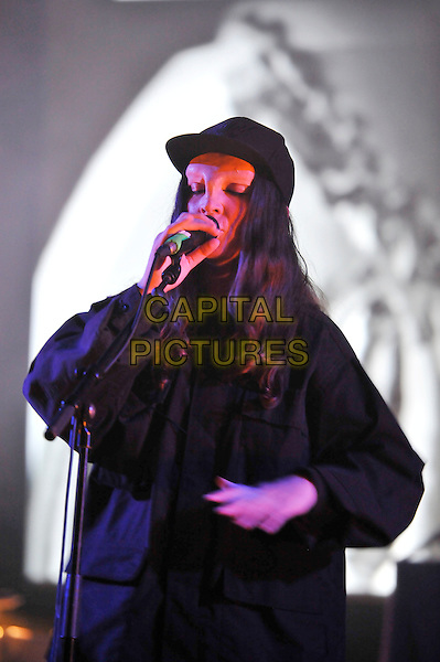 Janine Rostron, known by her stage name'Planningtorock' .Performing live in concert as part of the Meltdown Festival, Royal Festival Hall, London, England..1st August 2012.on stage gig performance music half length hat singing black.CAP/MAR.© Martin Harris/Capital Pictures.