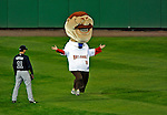 30 March 2008: Washington Nationals Presidential Mascot Teddy Roosevelt is unable to find the finish line of the first presidential race during the inaugural game of Nationals Park between the Atlanta Braves and the Washington Nationals in Washington, DC. The Nationals christened their new ballpark with a 3-2 win over the visiting Braves...Mandatory Photo Credit: Ed Wolfstein Photo..Mandatory Photo Credit: Ed Wolfstein Photo