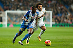 Real Madrid´s Marcelo Vieira (R) and Espanyol´s Mamadou during 2015/16 La Liga match between Real Madrid and Espanyol at Santiago Bernabeu stadium in Madrid, Spain. January 31, 2016. (ALTERPHOTOS/Victor Blanco)