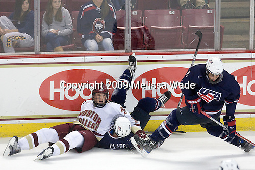 Brian Dumoulin (BC - 2), Kevin Clare (US - 4), Michael Mersch (US - 11) - The Boston College Eagles defeated USA Hockey's National Team Development Program's Under 18 team 6-3 on Friday, October 9, 2009 at Conte Forum in Chestnut Hill, Massachusetts.