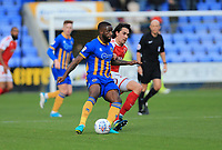 Markus Schwabl of Fleetwood Town challenges for the ball during the Sky Bet League 1 match between Shrewsbury Town and Fleetwood Town at Greenhous Meadow, Shrewsbury, England on 21 October 2017. Photo by Leila Coker / PRiME Media Images.