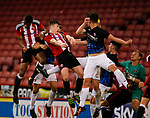 George Cantrill of Sheffield Utd heads the second goal during the U18 Professional Development League 2 play off semi final match at  Bramall Lane, Sheffield. Picture date: April 21st 2017. Pic credit should read: Simon Bellis/Sportimage