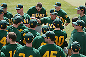 February 21, 2010:  Head Coach Tony Rossi of the Siena Saints talks with his team before a game at Melching Field at Conrad Park in DeLand, FL.  Siena lost to Stetson by the score of 8-7.  Photo By Mike Janes/Four Seam Images