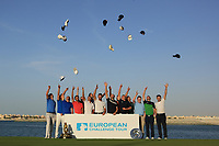 15 graduates throw their caps during the final round of the Ras Al Khaimah Challenge Tour Grand Final played at Al Hamra Golf Club, Ras Al Khaimah, UAE. 03/11/2018<br /> Picture: Golffile | Phil Inglis<br /> <br /> All photo usage must carry mandatory copyright credit (&copy; Golffile | Phil Inglis)