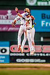 29 July 2018: Vermont Lake Monsters infielder Joseph Pena (4) celebrates with Max Schuemann at the end of play against the Batavia Muckdogs at Centennial Field in Burlington, Vermont. The Lake Monsters defeated the Muck Dogs 4-1 in NY Penn League action. Mandatory Credit: Ed Wolfstein Photo *** RAW (NEF) Image File Available ***