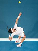 4th January 2020; RAC Arena, Perth, Western Australia; ATP Cup Australia, Perth, Day 2; Spain versus Georgia Nikoloz Basilashvili of Georgia serves during his match against Rafael Nadal of Spain - Editorial Use