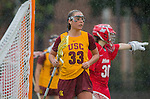 Los Angeles, CA 02/28/14 - Danielle Doherty (USC #33) in action during the Marist Red Foxes vs University of Southern California Trojans NCAA Women's lacrosse game at Loker Track Stadium on the USC Campus.  Marist defeated USC 12-10.