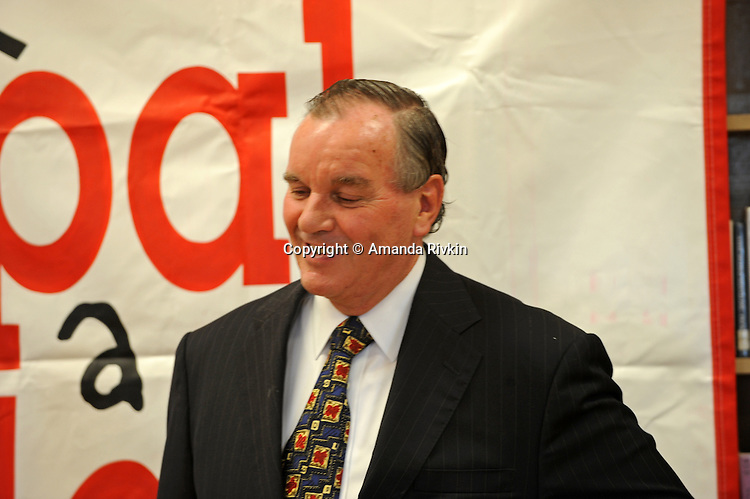 """Mayor Richard M. Daley attends a press conference for his """"Principal for a Day"""" program of corporate sponsorship and volunteerism in the Chicago Public Schools at Talcott Elementary School, 1840 W. Ohio St., in Chicago, Illinois on October 17, 2008."""