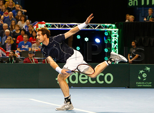 04.03.2016. Barclaycard Arena, Birmingham, England. Davis Cup Tennis World Group First Round. Great Britain versus Japan. Andy Murray of Great Britain serves during his singles match against Japan's Taro Daniel on day 1 of the tie.