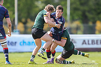 Peter Lydon of London Scottish is tackled during the Greene King IPA Championship match between London Scottish Football Club and Nottingham Rugby at Richmond Athletic Ground, Richmond, United Kingdom on 15 April 2017. Photo by David Horn.