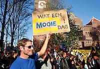 Manifestatie op het Beursplein in Amsterdam tijdens het Occupy Wall Street protest