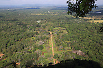 View of water gardens from rock palace fort, Sigiriya, Central Province, Sri Lanka, Asia