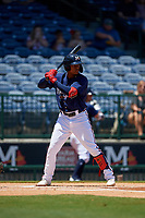 Mississippi Braves Cristian Pache (16) during a Southern League game against the Jacksonville Jumbo Shrimp on May 5, 2019 at Trustmark Park in Pearl, Mississippi.  Mississippi defeated Jacksonville 1-0 in ten innings.  (Mike Janes/Four Seam Images)