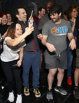 """Leslir Kritzer, Ron McClure and Alex Brightman during the Broadway Opening Night Actors' Equity Legacy Robe Ceremony honoring Jill Abramovitz for """"Beetlejuice"""" at The Wintergarden on April 25, 2019  in New York City."""