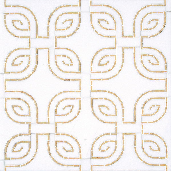 Heathrow, a hand-cut and waterjet mosaic, shown in honed Thassos and polished Sylvia Gold, is part of the Miraflores collection by Paul Schatz for New Ravenna.