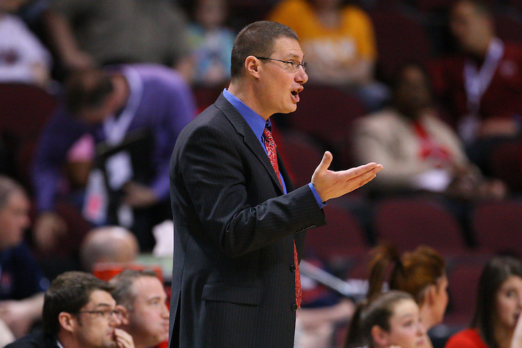 March 6, 2011; Las Vegas, NV, USA; Saint Mary's Gaels head coach Paul Thomas instructs his team against the San Diego Toreros during the WCC Basketball Championships semifinal game at Orleans Arena. The Gaels defeated the Toreros 71-68.