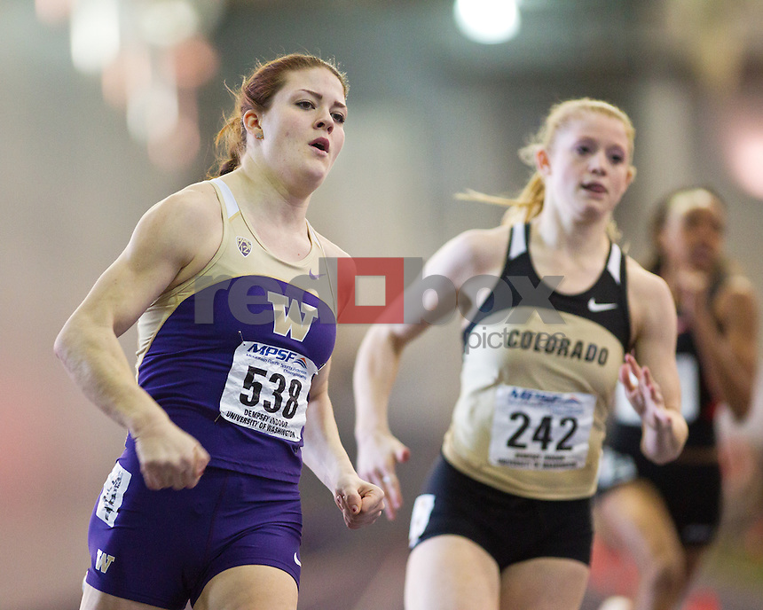 Jordan Carlson..-----Washington track and field athletes compete in the MPSF Championships at University of Washington's Dempsey Indoor in Seattle on Saturday, February 25, 2012. (Photo by Dan DeLong/Red Box Pictures)