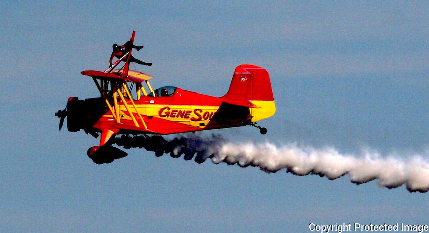 11/07/05.....Gary Wilcox/The Times Union.....Teresa Stokes the wink walker with The Gene Soucy Aerobatic Flight Team fly over the Jacksonville Beachlast Saturday during the Jacksonville Sea & Sky Spectacular at Jacksonville Beach.