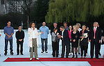 Tamara Tunie and skaters at Skating with the Stars (celebrities & Olympic skaters), a benefit gala for Figure Skating in Harlem on April 6, 2010 at Wollman Rink, Central Park, New York City, New York. (Photo by Sue Coflin/Max Photos)