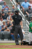 umpire Mark Bass calls a strike during a Carolina League game between the Down East Wood Ducks and Fayetteville Woodpeckers on August 13, 2019 at SEGRA Stadium in Fayetteville, North Carolina.  Fayetteville defeated Down East 5-3.  (Mike Janes/Four Seam Images)