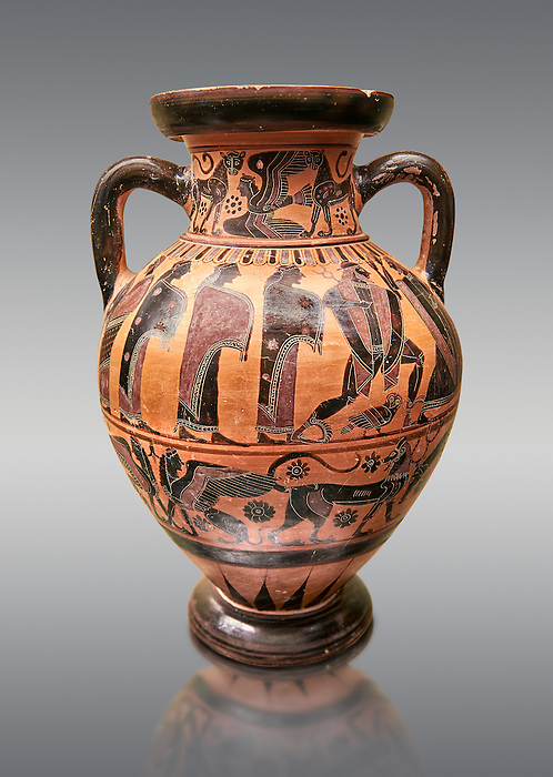 560-550 B.C Etruscan attica style amfora painted in the style of Lydos, inv 70995,   National Archaeological Museum Florence, Italy , against grey