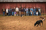 Marking and branding crew at the Red Barn after calf marking at the Wooster Ranch, Red Barn, Calaveras County, Calif.