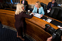 Kirstjen Nielsen, left, greets United States Senator Maggie Hassan (Democrat of New Hampshire), right, prior to Nielsen's confirmation hearing to be US Secretary of Homeland Security before the US Senate Homeland Security and Government Affairs Committee on Capitol Hill in Washington, D.C. on November 8th, 2017. <br /> Credit: Alex Edelman / CNP /MediaPunch