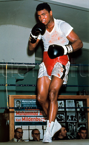10.09.1966. Frankfurt, Germany. American boxer Cassius Clay (later Muhammad Ali) trains in Frankfurt before his fight with Karl Mildenberger . Muhammad Ali died on June 3rd 2016 of a respiratory complication in a Phoenix hospital.