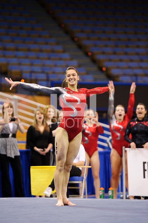 LOS ANGELES, CA - March 19, 2011:  Stanford's Nicole Pechanec competes in floor exercise during the Pac-10 Championship at UCLA's Pauley Pavilon.   Stanford placed fourth in the competition.