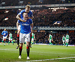 05.02.2020 Rangers v Hibs: George Edmundson scores for Rangers and celebrates with Scott Arfield