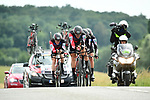 BMC Racing Team in action during Stage 3 of the 2018 Criterium du Dauphine 2018 a Team Time Trial running 35km from Pont de Vaux to Louhans Chateaurenaud, France. 6th June 2018.<br /> Picture: ASO/Alex Broadway | Cyclefile<br /> <br /> <br /> All photos usage must carry mandatory copyright credit (&copy; Cyclefile | ASO/Alex Broadway)