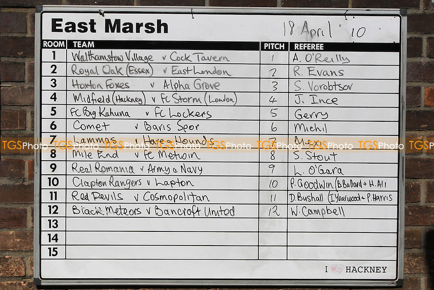 The match schedule is seen on the wall of the dressing room block at East Marsh, Hackney Marshes, which is scheduled for demolition in early May 2010 - 18/04/10 - MANDATORY CREDIT: Gavin Ellis/TGSPHOTO - Self billing applies where appropriate - Tel: 0845 094 6026