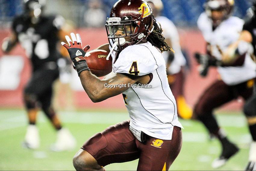 Central Michigan Chippewas defensive back Jahleel Addae (4) intercepts and runs back a pass during second half of the Central Michigan Chippewas vs Massachusetts Minutemen NCAA football game held at Gillette Stadium in Foxborough, Massachusetts.  Eric Canha/CSM