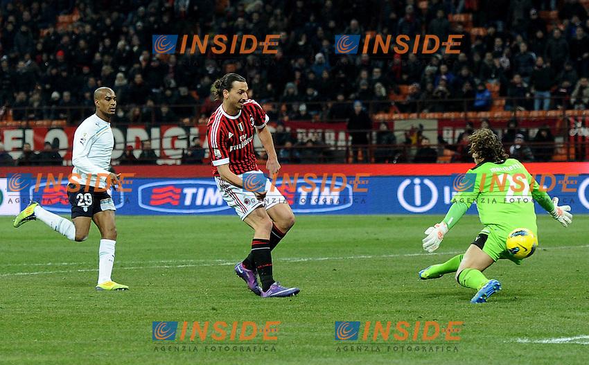 "Il gol di Zlatan IBRAHIMOVIC (Milan) goal celebration.Milano 26/1/2012 Stadio ""Giuseppe Meazza"".Coppa Italia 2011/2012.Football Calcio Milan Vs Lazio.Foto Insidefoto Alessandro Sabattini."