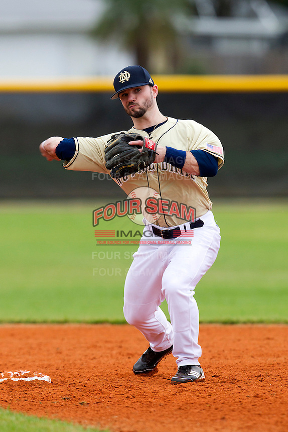 Notre Dame Fighting Irish second baseman Frank DeSico #35 during warmups before a game against the Illinois Fighting Illini at the Big Ten/Big East Challenge at Walter Fuller Complex on February 17, 2012 in St. Petersburg, Florida.  (Mike Janes/Four Seam Images)