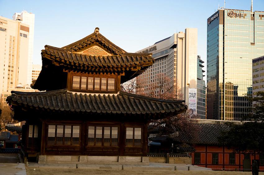 Downtown Seoul, South Korea viewed from Deoksugung park
