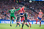 Atletico de Madrid's Jan Oblak and Jose Maria Gimenez and Chelsea's Gary Cahill during UEFA Champions League match between Atletico de Madrid and Chelsea at Wanda Metropolitano in Madrid, Spain September 27, 2017. (ALTERPHOTOS/Borja B.Hojas)