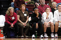 21 November 2006: Professor of the game Carol Boggs, friend Judy Washburn, Stanford Cardinal Rosalyn Gold-Onwude, and Christy Titchenal during Stanford's 75-60 win against the Missouri Tigers at Maples Pavilion in Stanford, CA.