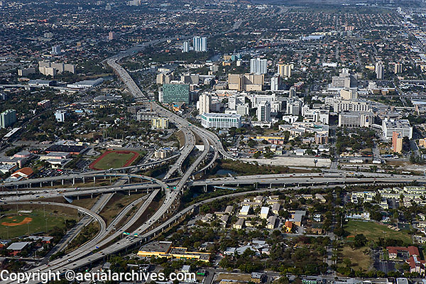 aerial photograph I-95 I-395 interstate interchange Miami Florida