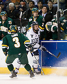 Drew MacKenzie (Vermont - 2), Willie Mitchell (Vermont - Assistant Coach), Mike Spillane (Vermont - 31) - Peter Lenes (Vermont - 3), Matt Nelson (Yale - 27) - The University of Vermont Catamounts defeated the Yale University Bulldogs 4-1 in their NCAA East Regional Semi-Final match on Friday, March 27, 2009, at the Bridgeport Arena at Harbor Yard in Bridgeport, Connecticut.