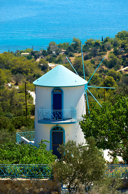 Windmill near Portes, Aegina, Greek Saronic Islands