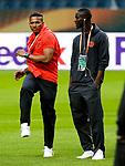 Luis Antonio Valencia and Eric Bailly of Manchester United ahead of the UEFA Europa League Final at the Friends Arena, Stockholm. Picture date: May 23rd, 2017. Pic credit should read: Matt McNulty/Sportimage