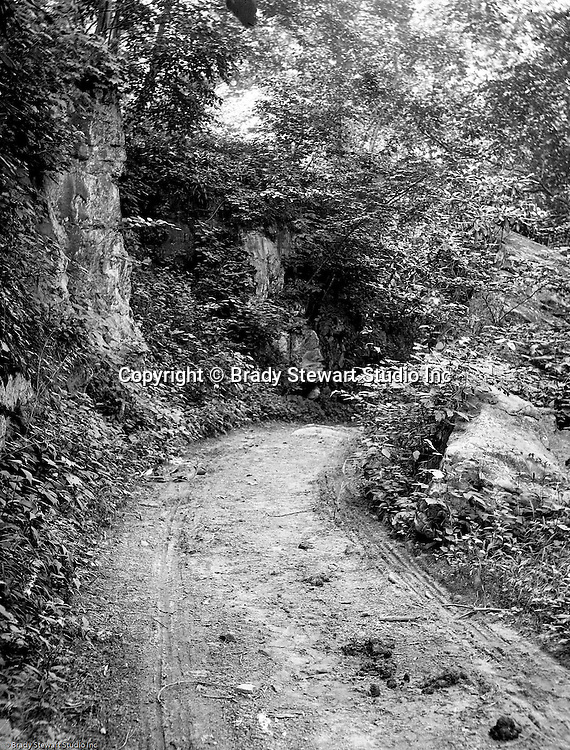 Fayette County PA:  View of the road leading to Bear Run Creek in Stewart Township.  Stewarts traveled to Stewart Township to visit Alice Brady Stewart's brother who lived in the area.