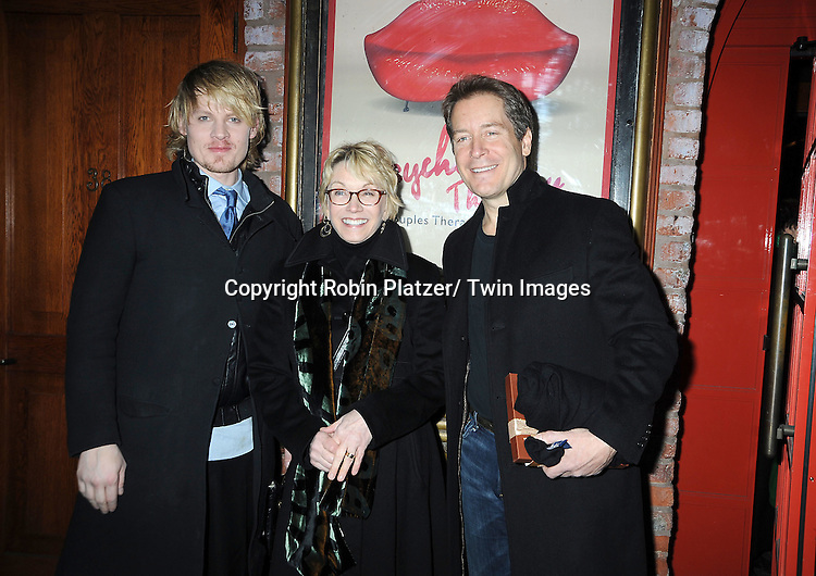 "Jeffrey Carlson, Sandy Duncan and Laurence Lau attend the opening Night of  ""Psycho Therapy"" on February 7, 2012 at The Cherry Lane Theatre in New York City. The show stars, Angelica Page, Jeffrey Carlson, Jan Leslie Harding and Laurence Lau."