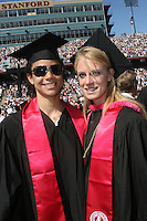 STANFORD, CA - June 15:  Cissy Pierce and Becky McCullough during the 117th Commencement Ceremony on June 15, 2008 at Stanford Stadium in Stanford, California.