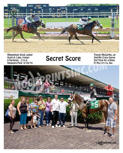 Secret Score winning at Delaware Park racetrack on 6/16/14