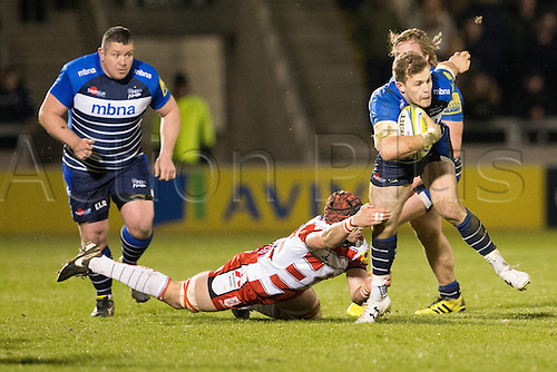 29.04.2016. AJ Bell Stadium, Salford, England. Aviva Premiership Sale Sharks versus Gloucester Rugby. Sale Sharks centre Will Addison is tackled.