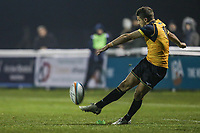 Laurence MAY of Ealing Trailfinders converts during the Championship Cup match between London Scottish Football Club and Ealing Trailfinders at Richmond Athletic Ground, Richmond, United Kingdom on 23 November 2018. Photo by David Horn/PRiME Media Images