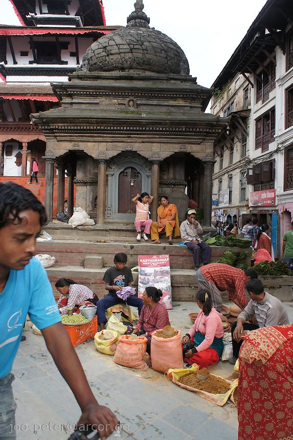 street sellers at Durbar Square, Kathmandu, Nepal, October 2011